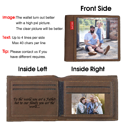 Custom Photo Wallet, Personalized Photo Wallets for Men Dark Brown
