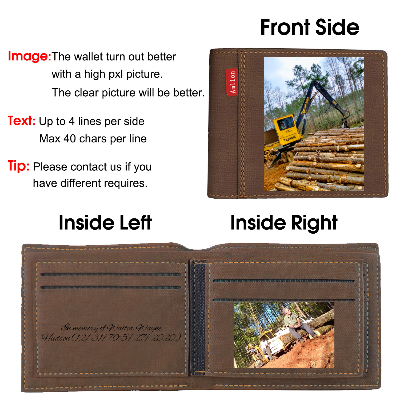 Personalized Photo Wallets Engraved, Custom Wallets for Men,Father,Dad Dark brown