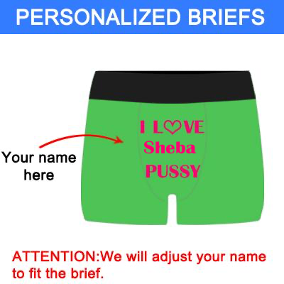 "Men's Custom ""Love Name's Pussy"" Green Boxer Briefs"