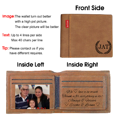 Personalized Monogram Wallets Men, Custom Engraved Mens Photo Wallets for Men Dad Father Day Gifts-Brown