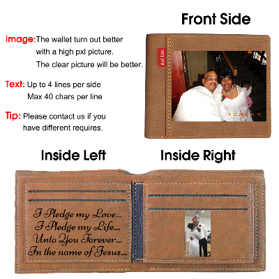 Personalized Wallets Men, Custom Engraved Mens Photo Wallets with Text Pictures for Him Dad Son-Brown2