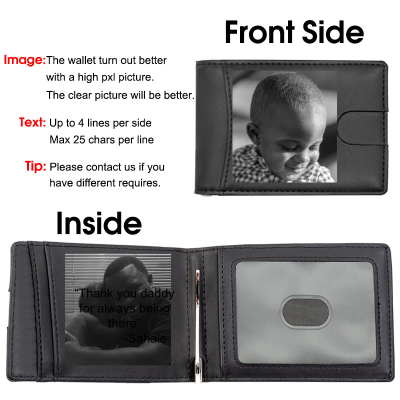 Photo Wallet for Men,RFID Blocking,Personalized Wallet Fathers Day Gifts