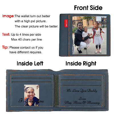 Custom Photo Wallet, Personalized Photo Printed Wallets for Men or Son Black