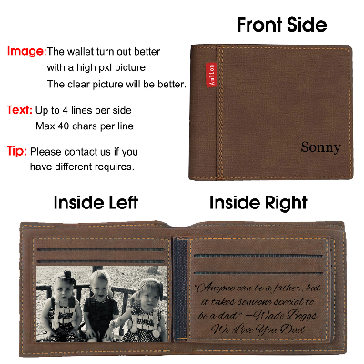 Personalized Monogram Wallets Men, Custom Engraved Photo Wallets  for Son Him Dad Father Day Gifts-Brown1