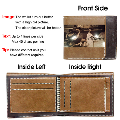 Personalized Custom Engraved Photo Wallet Men Dad Boyfriend Son Him Brown
