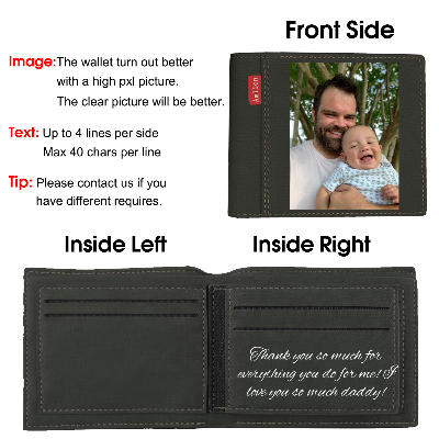 Custom Photo Wallet, Personalized Print Photo Wallets For Men Father Day Gifts Black