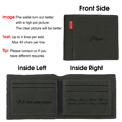 Custom Photo Color Printing Wallets for Men Black