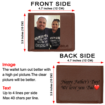 Personalized Photo Leather Wallets Engraved, Custom Wallets for Men,Father,Dad