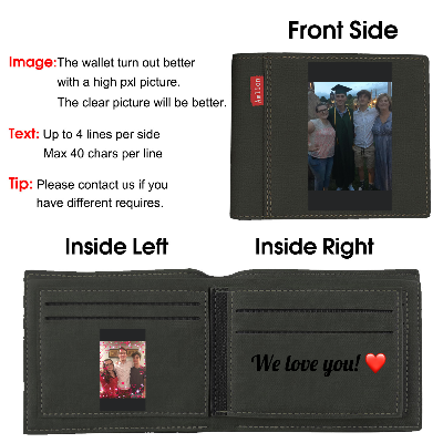 Custom Engraved Wallet, Personalized Photo Wallet for Men Dad Father Day Gifts black