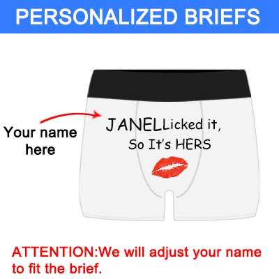 "Mne's Custom Name ""Licked It"" White Boxer Briefs, Personalized Boxer Underwear"