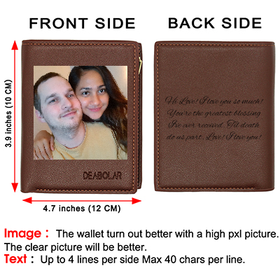 Custom Engraved Wallet,Personalized Photo Leather Wallets for Men Day Father Day Gifts Brown