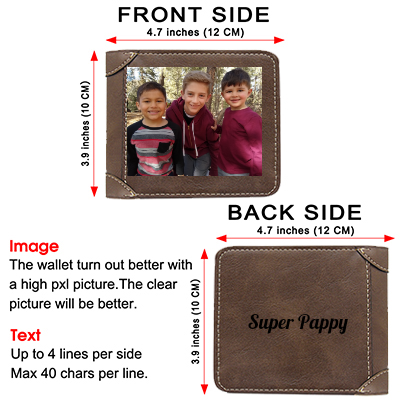 Custom Engraved Wallet, Personalized Photo Men Wallets for Dad Boyfriend Son Him Fathers Day