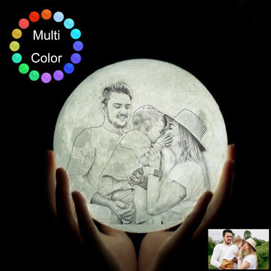 Custom 3D Photo Moon Light With Picture Print For Wife