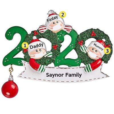 Custom Christmas Ornaments, Personalized Family Name Christmas Ornament-3 People