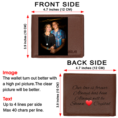 Personalized Photo Leather Wallets Men,Custom Engraved Wallet for Him Dad Son Father Day Gifts Brown
