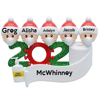 Personalized Christmas Ornament kit, Custom 2020 Christmas Name Decorating Kit-5 People