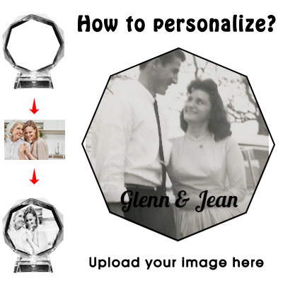 3D Crystal Cube Picture, Photo Personalized & Custom Round Crystal Laser Engraved Photo