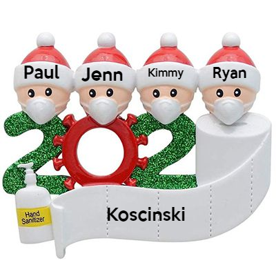 2020 Christmas Ornament with Personalized Family Members Name,Customized Christmas Tree Ornament-4 People