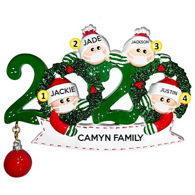 Custom Hanging Ornament, Personalized Christmas Ornaments for Family-4 People