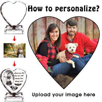Personalized Custom 3D Crystal Cube Photo, Laser Engraved Picture, Customized Heart Crystal Photo