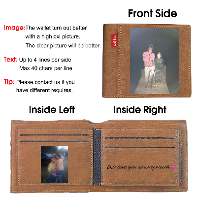 Personalized Wallets Men, Custom Engraved Mens Photo Wallets With Text Pictures For Him Dad Son-Light Brown