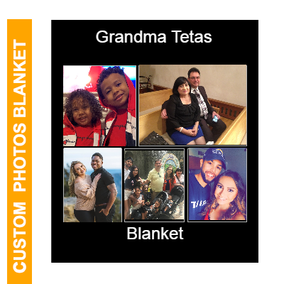 Custom Blankets with 5 Photos Collage, Personalized Throw Blanket Pictures Name Text for Gifts-50X60in
