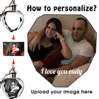 Custom Personalized Heart Crystal Keychain with Picture Photos Engraved