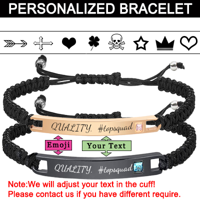 Personalized  Bracelets Engraved Inspirational Bracelets for Women Men Couples Braided Rope