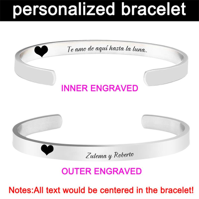 Engraved Personalized Inspirational Bracelets Cuff for Women Girls -Double Side Engraved