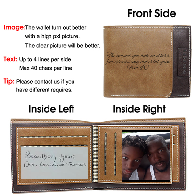 Custom Engraved Wallet Personalized for Dad Boyfriend Son Him Father's Day Brown