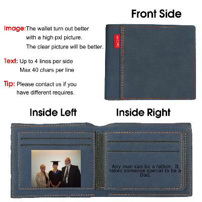 Custom Engraved Photo Wallet Personalized Wallet for Men Blue