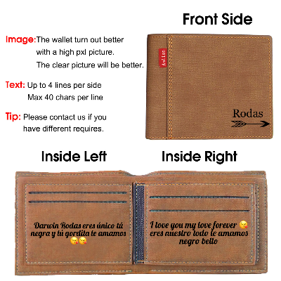 Personalized Monogram Wallets for Men, Engraved Mens Photo Wallets for Son Him