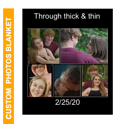 Custom Blankets with 5 Photos Collage, Personalized Throw Blanket Pictures Name Text for Gifts-60X80in