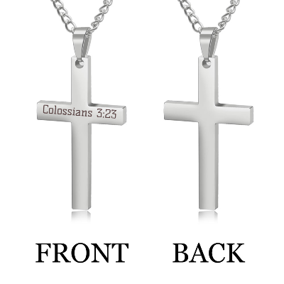 Personalized Cross Necklace,Custom Engraved Pendant Necklace for Men,Silver