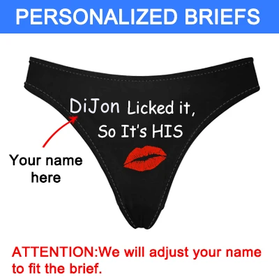 "Women's Personalized Name ""Licked It"" Black Thong Panty,Custom Name Thong Underwear"