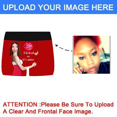 Personalized  Funny Face Boxers Briefs for Men with Photo, Customized Hug Mens Underwears-Red