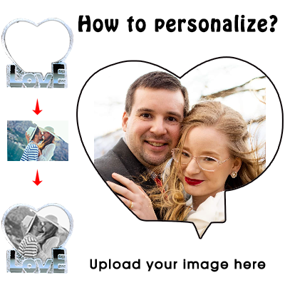 Personalized Custom 3D Crystal Cube Photo, Customized Heart Crystal Photo, Picture Laser Engraved with Free LED Base Included