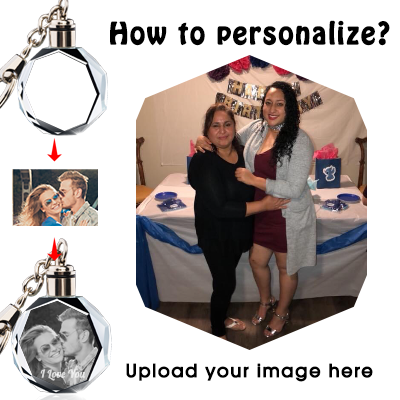 Custom Personalized Round Crystal Keychain with Picture Photos Engraved for Valentine's Day,Mothers Day
