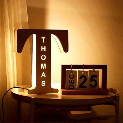 Personalized Wood Letter Wall Light, Custom Woodcut Alphabet Night Light-7.5*7.1in