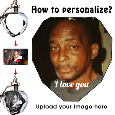 Personalized Heart Crystal Keychain with Picture Lighted,Customize Photo Keychain Engraved for Valentine's Day,Mothers Day