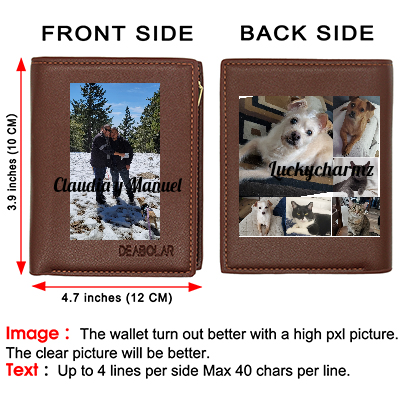 Personalized Wallet for Men Custom Photo Wallets Men's Genuine Leather