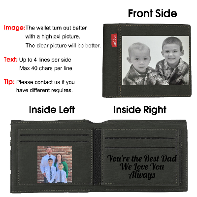 Custom Wallet, Personalized Engraved Photo Wallet for Men Dad Black Color