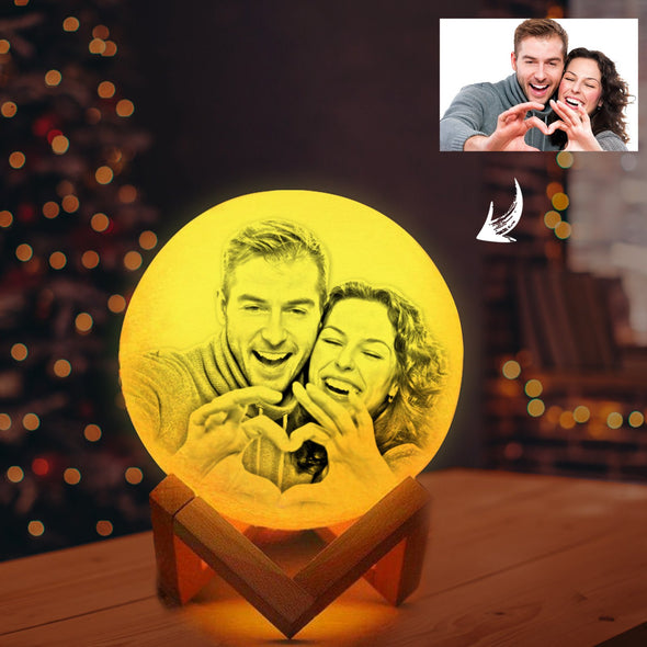 3D Moon Lamp Personalized, Custom 3D Engraved Photo Light for Mother Day Gift (3.9-7.9Inch) - amlion