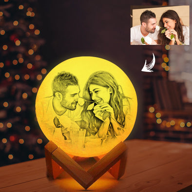 Personalized 3D Moon Photo Lamp Custom Engraved 3D  Luna lights with picture - amlion