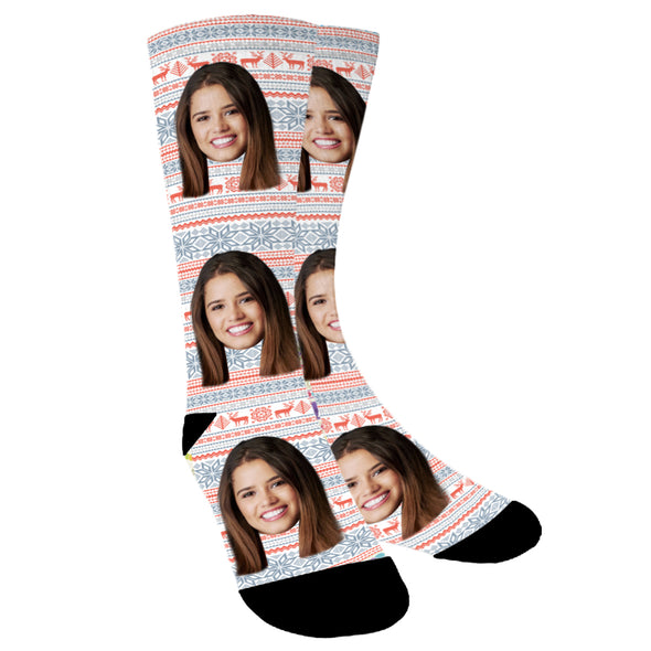 Custom Face With Different Patterns Photo Socks - amlion