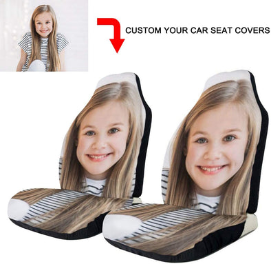 Custom Car Seat Covers Personalized with Your Own Picture, Logo, Text, Fit Most Car, Truck, SUV, Van (2Pieces)