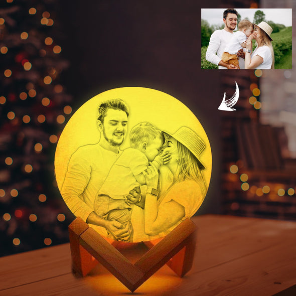 Custom 3d Photo Moon Lamp with Picture Print For Wife - amlion