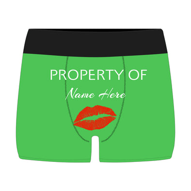 Personalized  Property of Name Green Boxer Briefs - amlion