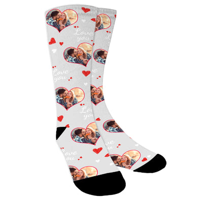 Custom  Photo Valentine's Day Love Socks For Men Women Unisex - amlion