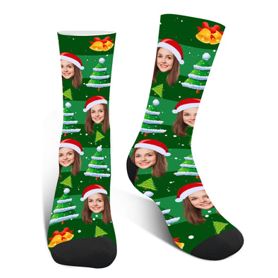 Custom  Photo Face Christmas Socks - amlion